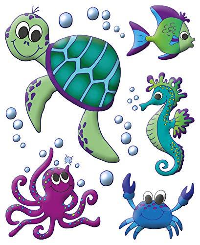 AVERY Zweckform 54994 Fensterbilder Meereswelt 10 Stück (bunte selbstklebende Fensteraufkleber für Kinder, glänzend, wasserfest, ablösbare Fensterfolie, Fenstersticker und Deko für Fenster, Spiegel)