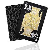 SENOPEKOO Waterproof Black Playing Cards, Luxury Deck of Cards with Shiny Diamond Pattern & HD Printing, Premium Plastic Poker Cards | Durable & Flexible