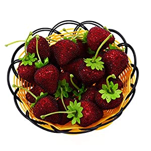 HZHI Fake Fruit Home House Kitchen Party Artificial Decoration Simulation Big Strawberry 12 Pcs