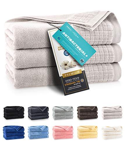 ZWOLTEX Himmlisch weiche Handtücher aus 100% Ägyptischer Baumwolle I Made IN EU I Gästehandtücher Ultra-Soft Duschtuch Badetuch - 3er Handtuch Set Hellbraun