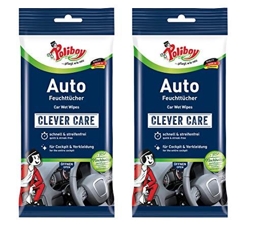 Poliboy - alles für die Autoreinigung - Auto Feuchttücher - perfekt für die gründliche Reinigung des Innenraums - 2er Pack - 2x20 Stück - Made in Germany
