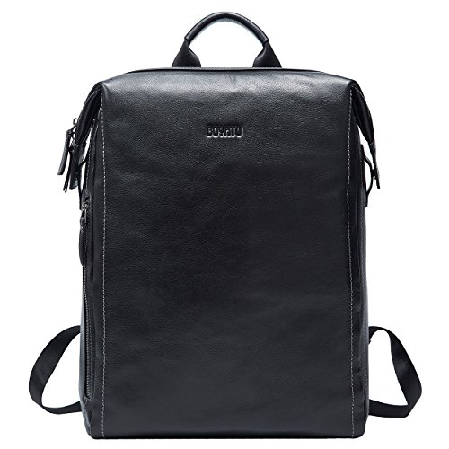 BOYATU Leather Backpack Purse for Men Fashion Business Backpack College School Bags Black