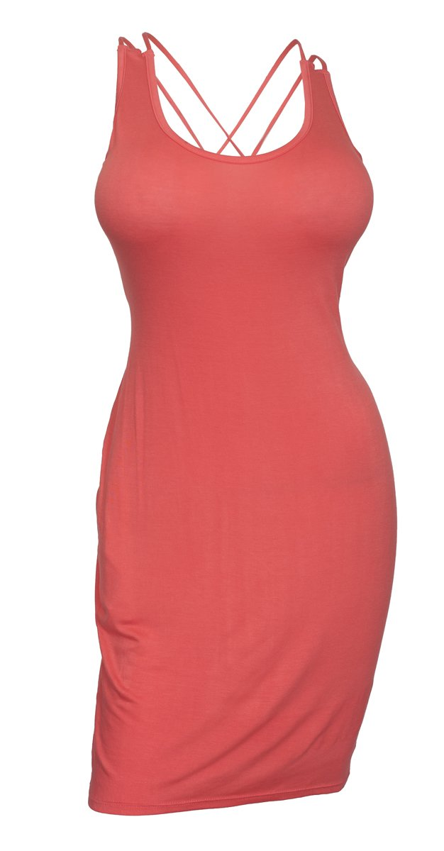 Available at Amazon: eVogues Plus Size Crisscross Back Sleeveless Dress Coral