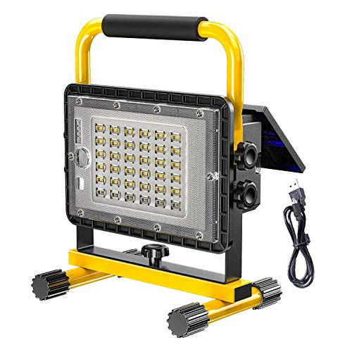 Foco de construcción LED portátil de 200 W con panel solar, luz de trabajo USB recargable de 10000 lm, luz de trabajo USB recargable de 6000 K, batería de 20800 mAh, 4 modos, lámpara de trabajo imper