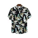 Camisa de playa hawaiana para hombre, estampada con motivos florales, con botón de cuello de espalda y manga corta, para verano, playa, mar, Negro , M