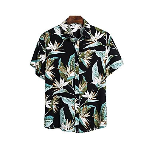 1 habitación Camisa de Playa Hawaiano Hombre Estampado Floral con Boton Cuello de Solapa Manga Corta Camisa Casual Respirable cobardemente a la Moda Verano Playa (Negro, XL) ✅