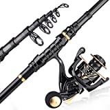Sougayilang Telescopic Fishing Rod and Reel Combos with Carbon Fiber Pole and Spinning Reels for Travel Saltwater and Freshwater(1.8m+2K)