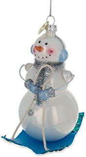 BestPysanky Snowman on a Sled Glass Christmas Ornament