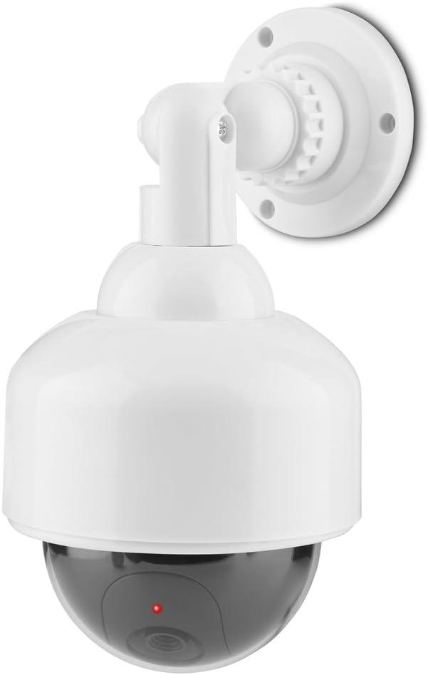 Dummy Security Camera, Indoor Outdoor Fake Dome Dummy LED Solar Surveillance Security Motio Camera 360° Rotation