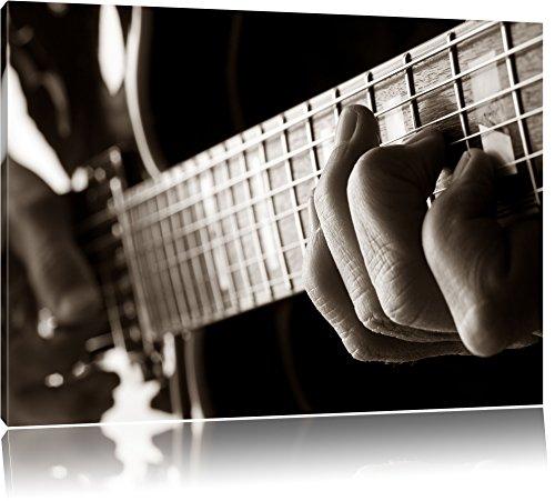 Dark Gitarre spielen Bild auf Leinwand, XXL riesige Bilder fertig gerahmt mit Keilrahmen, Kunstdruck auf Wandbild mit Rahmen, guenstiger als Gemaelde oder Bild, kein Poster oder Plakat, Format:120x80 cm