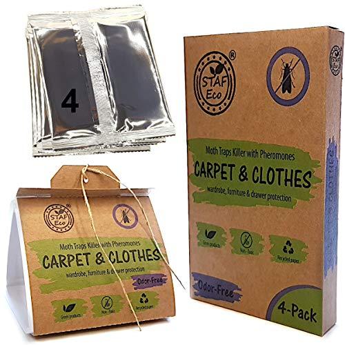 Motten-Pheromon-Falle 4er-Pack, hochwirksamer Mottenfalle (Mottenkiller) gegen Mottenbefall, für Kleiderschränke, Kommoden, Vorratskammer und Teppiche