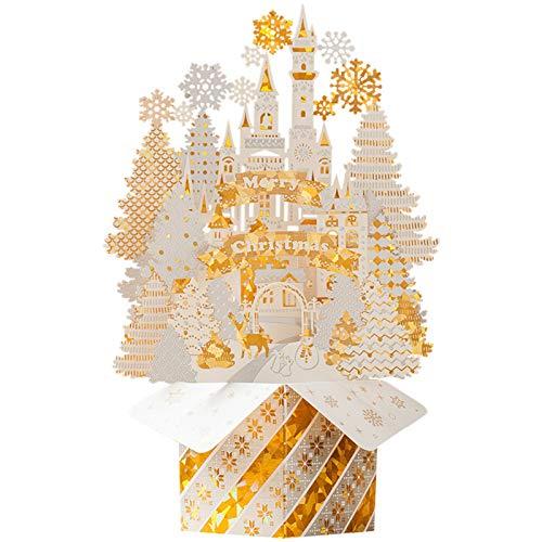 XINGYUE Tarjetas de felicitación de Navidad 3D, tarjeta de Navidad, festival, año nuevo, tarjetas de felicitación de invierno con sobres Golden Castle
