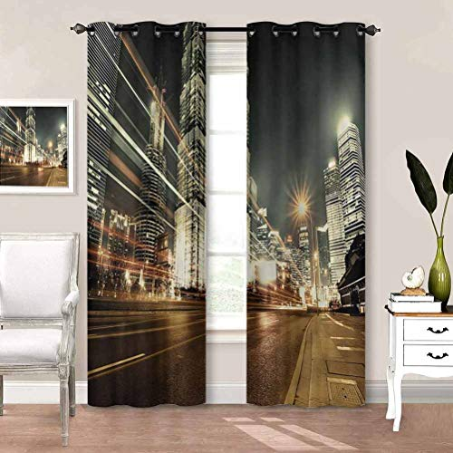 painting-home Kids Blackout Curtains City, Shanghai Finance Zone View Curtains Window Treatments Perfect for Your Kids Rooms W84 x L72 Inch
