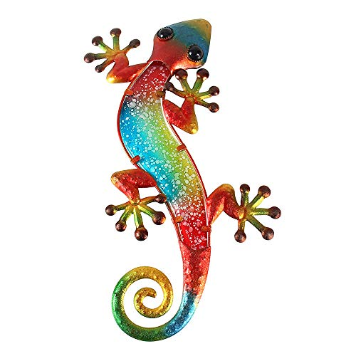Liffy Metal Gecko Outdoor Wall Decor Lizard Garden Art Red Hanging Glass Decorations for Patio or Fence, 15.2 Inches Long