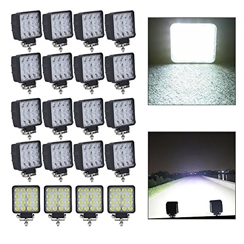 HJ 20x 48W LED Arbeitsscheinwerfer 4320LM Zusatzscheinwerfer LED Scheinwerfer IP67 Offroad Wasserdicht Flutlichtstrahler 12V 24V [Energieklasse A++]