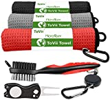 ToVii Golf Towels for Golf Bags with Clip Accessories Set Divot Repair Tools Golf Club Cleaner Golf Gift for Men & Women Red