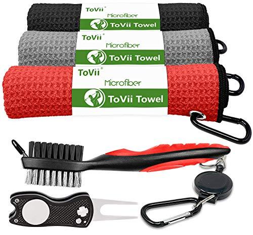 ToVii Golf-Handtücher für Golftaschen mit Clip Zubehör Set Pitchgabel Reparatur Werkzeuge Golfschläger Reiniger Golf Geschenk für Damen & Herren Rot