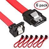 Relper-Lineso 6 Pack 90 Degree Right-Angle SATA III Cable 6.0 Gbps with Locking Latch 18Inch (6X Sata Cable Red)