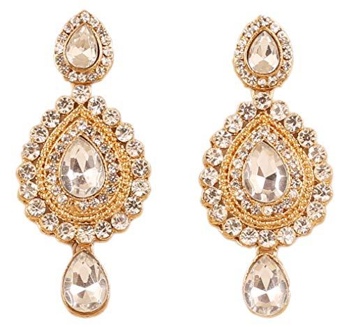 Touchstone Indische Bollywood Wunsch zeitgenössischen Diamant-Look weißen Rhein Designer-Schmuck-Kronleuchter Ohrringe für Damen 2.1 Gold