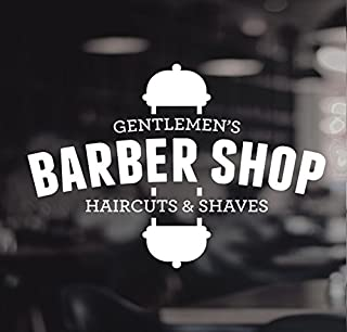 Barbers Pole Haircut Shaves Gentlemen's Shop Vinyl Sign Hairdressers Hair Salon Window Lettering Sticker by Wall4stickers