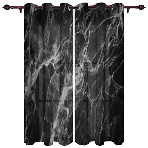 Room Darkening Window Curtain Panels Black Marble Curtain Treatment Thermal Insulated Blackout Grommet Drapes Curtain for Living Room, 2 Panels, 27.5 x 39 inch
