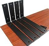 4 Pack - L11' x H 6' x W 1.5', 5mm Thick Rustic Shelf Bracket, Iron Shelf Brackets, Metal Shelf Bracket, Industrial Shelf Bracket, Modern Shelf Bracket, Decorative Shelving, Shelf Supports with Screws