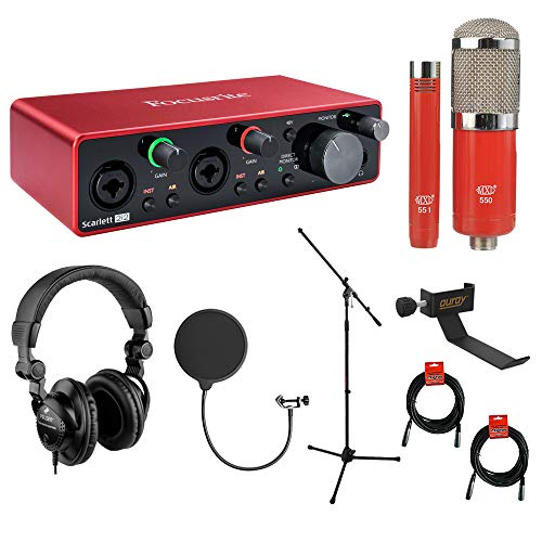 Focusrite Scarlett 2i2 3rd Gen 2-in, 2-out USB Audio Interface with MXL 550/551 Mic Ensemble (Red), Headphones, Pop Filter, Headphone Holder, Mic Stand & 2x XLR Cable Bundle