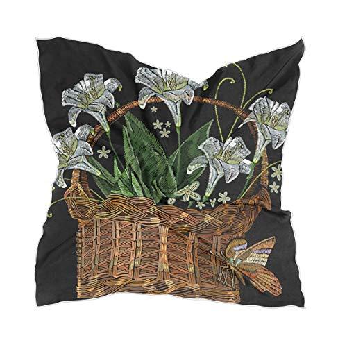 Bufanda cuadrada con diseño de lirios y flores, cesta de mimbre grande,...