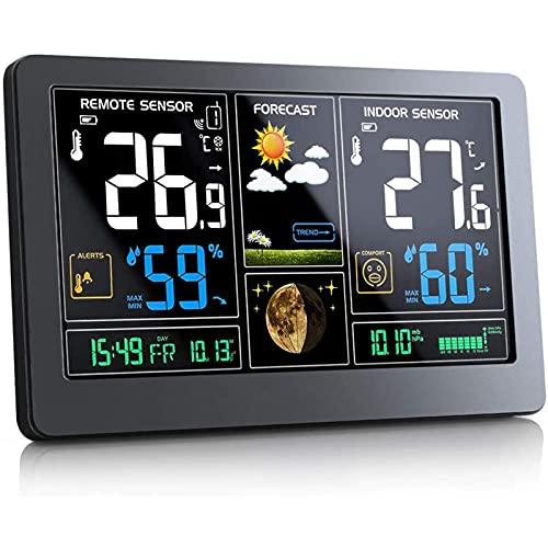 FHISD Estación meteorológica con Sensor inalámbrico al Aire Libre, Hogar Digital Tiempo Estaciones Previsión, la Temperatura Interior al Aire Libre, Incluir Alerta, Pronóstico del Tiempo