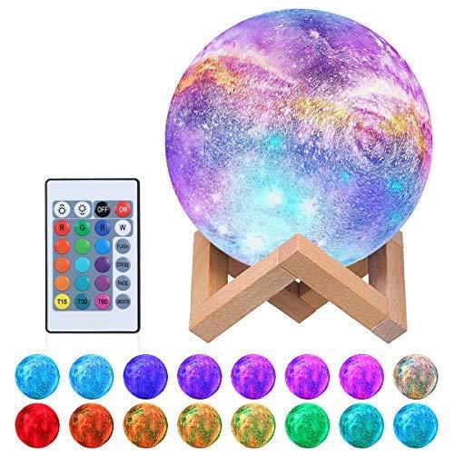 Tomshine Moon Lámpara, 16 colores Impreso en 3D Luz de luna llena 15 cm USB Luz de noche recargable Lámpara de mesa LED Lámpara de control táctil regulable Fiesta de cumpleaños de Navidad para niños