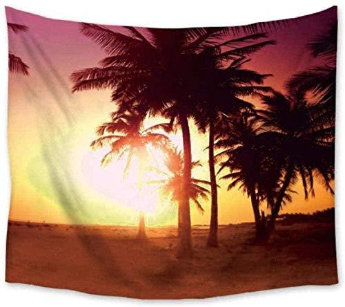 Yhjdcc Tapiz de playa de coco palmera para colgar en la pared de poliéster para colgar en la pared, tapete de yoga, toalla de playa para sala de estar, dormitorio, 150 cm x 200 cm