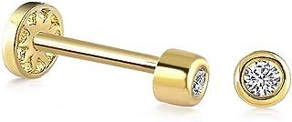 Piercing solitaire en or massif 14 carats, piercing de tragus minimaliste, piercing d'oreille à tige en or, piercing d'ore...