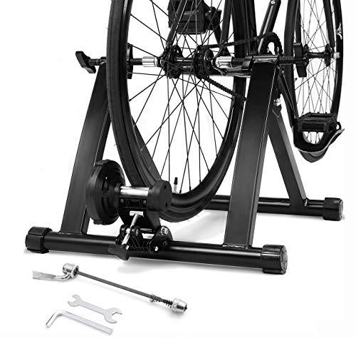 DREAMADE Rollentrainer für Fahrrad, Klappbarer Radtrainer aus Stahl, Fahrrad Heimtrainer Indoor, Fahrradtrainer Rollen Trainer für Fahrräder Mountainbike, Schwarz