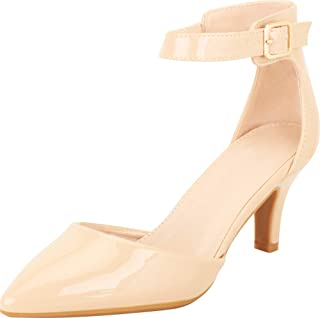 Cambridge Select Women's Pointed Toe D'Orsay Ankle Strap Mid Heel Pump