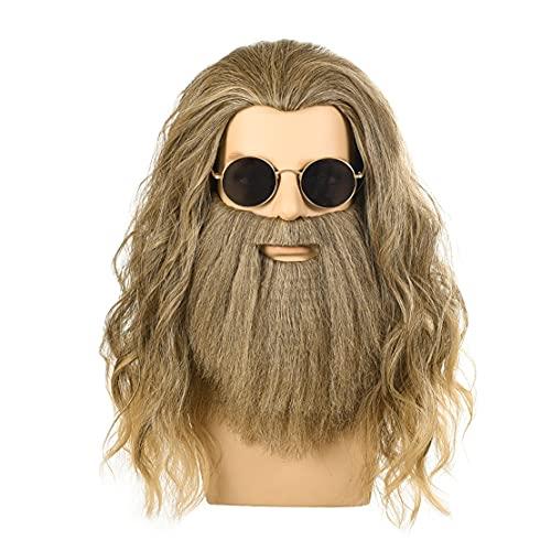MMMRRTIME Rizos de Barba Pelucas de Color de Lino para Hombres, Resistente al Calor sintético Película de Fibra química Cosplay Cosplay Usar Halloween