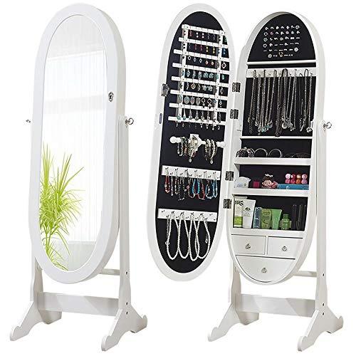 Gabinete de la joyería Gabinete de joyería Espejo montado en la pared Espejo elíptico ovalado Espejo de piso de longitud completa Para almacenamiento de joyas ( Color : Blanco , tamaño : Un tamaño )