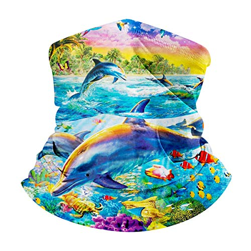 Unisex Ocean Animals Print Bandana Neck Gaiter Headband Face Mask Sun UV Protection Balaclavas Dust Cover for Outdoor Sports