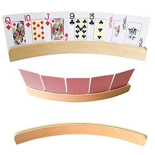 Set Of 4 Curved Wooden Playing Card Holders In Natural Wood Finish 13 Inch