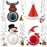4 bolas navideñas de panal de abeja decoraciones para fiestas 12 decoraciones en espiral para colgar en el techo papel de aluminio remolinos colgantes abanicos de papel Papá Noel muñeco de nieve alce