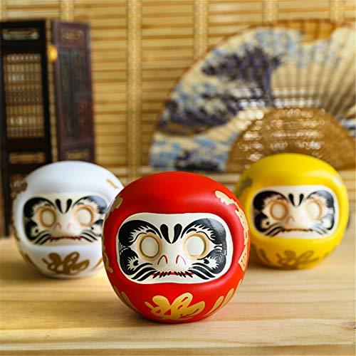 XIAOXI - Juego de 3 piezas de cerámica japonesa Daruma muñeca amuleto de la suerte, adorno de la fortuna de Fengshui Zen Craft Money Box Home Desktop Decoración Regalos