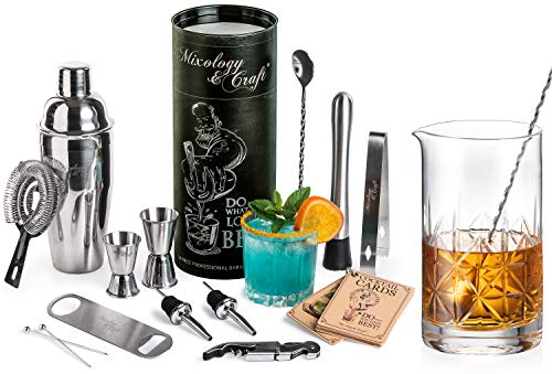 14-Piece Bartender Kit and Crystal Mixing Glass
