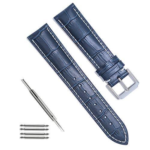 Tristraps Correa de Piel,Azul/Marrón/Negro,18mm 19mm 20mm 21mm 22mm 24mm Correa de Repuesto con Hebilla de Plata Inoxidable para Hombres/Mujeres