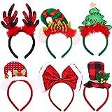 Ruisita 6 Pack Christmas Headbands Buffalo Plaid Reindeer Headbands Christmas Hats Elves Headbands Xmas Party Costume Headwear Accessories for Holiday Decoration