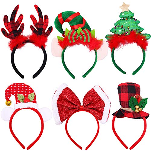 Ruisita 6 Pack Christmas Headbands Buffalo Plaid Reindeer Headbands Christmas Hats Elves Headbands Xmas Party Costume Headwear Accessories for Holiday Decoration