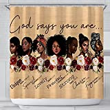 ASYOURWISH African American Women Shower Curtain Waterproof Polyester Fabric Afro Black Girl Art & Flower Inspiration Quote Design Bath Curtain Bathroom Decor Set with 12 Metal Hooks 72 X 72 Inches