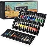 GC Set di 36 colori acrilici per tela, tessuto, vetro, ceramica, legno, colori vivaci e ricchi pigmenti, per bambini e artisti professionisti GC-AP36