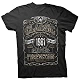 40th Birthday Gift Shirt - Classic 1981 Aged to Perfection - Black-001-2X