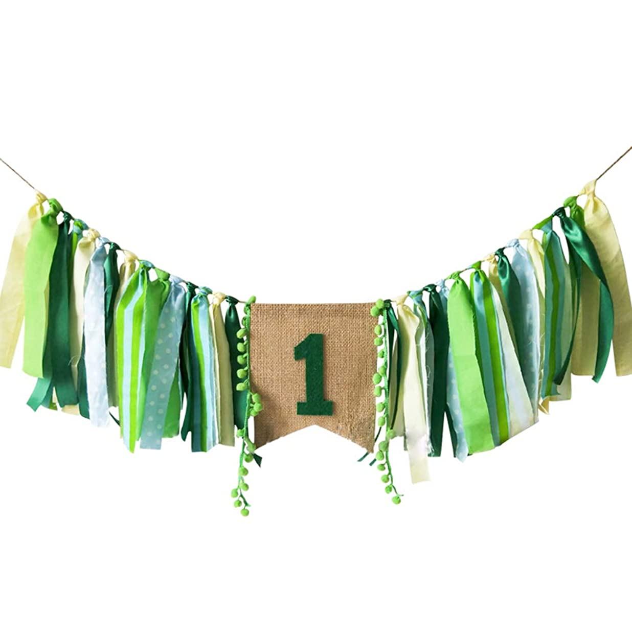 Baby Birthday Decoration - 1st Birthday Baby High Chair Banner Chair Tutu Skirt Decoration for Birthday Party Supplies (Green) fklcpxkq6