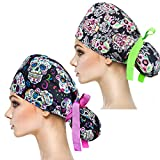 YUESUO 2 Pack Working Cap with Buttons and Sweatband,Cotton Working Hats with Adjustable Ponytail Pack Ribbon Tie Back Hats for Women & Men,Long Hair Head Covers Shower Caps (Q)