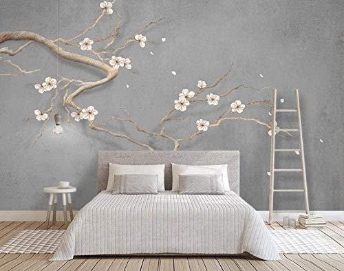 Behang bloesemtak pruimenbloesem vintage tegen muur, grijs, foto, huis, wandbehang, voor woonkamer, slaapkamer, decoratie, zelfklevend, 350 cm x 256 cm